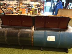 Bench made of oil barrels