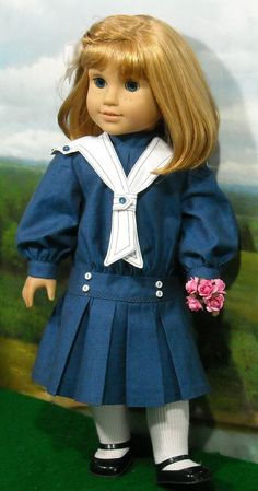 1900's Blue Middy Dress  for American Girl dolls by SugarloafDollClothes on Etsy  $80.00