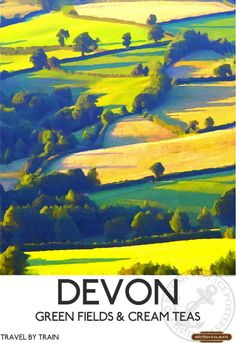 By Train, Train Art, Devon Map, Wall Art Prints, Poster Prints, Railway Posters, Train Posters, Train Travel, Photo Wall Collage