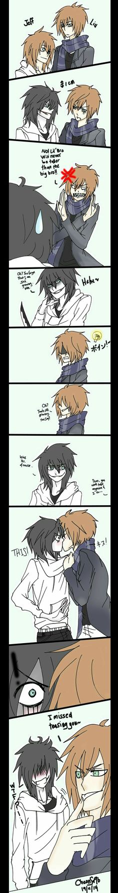 Jeff the Killer, Homicidal Liu, brothers, funny, text, comic, yaoi, kiss, blushing, height; Creepypasta
