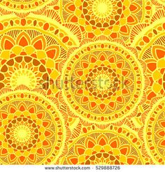 vector seamless pattern mandala sun yellow round ornament background