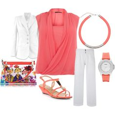 """""""Plus Size Coral and White Business"""" by intcon on Polyvore"""