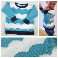 Strickpullover für Kinder mit Wellenmuster * hand knit sweater for kids with scallops pattern