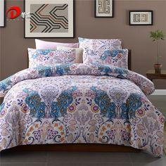 Luxury Satin Bed Linen Egyptian Cotton Bedding Set King Queen Size High Quality Blue Phoenix Bed Set Duvet Cover Set Z47 #Affiliate