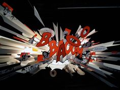 German designer Ingo Maurer presented 'bang boom' at Milan Design Week 2010. The hanging lamp is based around previous work, with the addition of comic typography and animation, constructed with paper.
