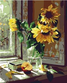 Amazon.com: Diy oil painting, paint by number kit- Warm sunflower 1620 inch.: Toys & Games