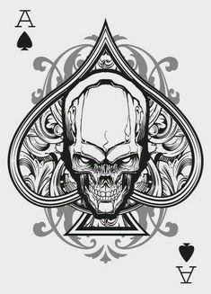 Ace of Spades Card Tattoo, Tatoo Art, Tattoo Drawings, Skull Tattoos, Sleeve Tattoos, Ace Of Spades Tattoo, Spade Tattoo, Images Alphabet, Tattoo Ideas