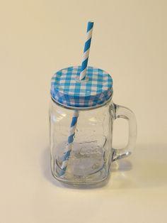 Vintage üveg pohár szívószállal. Limonádés bögre. Füles bögre csavaros fém fedéllel Mason Jars, Mugs, Tableware, Vintage, Dinnerware, Tumblers, Tablewares, Mason Jar, Mug