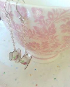 Mini Porcelain Teacup earrings Alice in by pinkdiamonddesign, $11.00