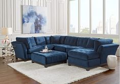 Cindy Crawford Home Metropolis Navy 4 Pc Sectional Living Room Set includes 3 Pc Right Arm Chaise Sectional & Cocktail Ottoman. Find affordable Living Room Sets for your home that will complement the rest of your furniture. Living Room Sets, Living Room Suite, Living Room Kitchen, Cindy Crawford Home, Sectional Living Room Sets, Cheap Living Room Sets, Affordable Living Rooms, Living Room Sectional, Furniture