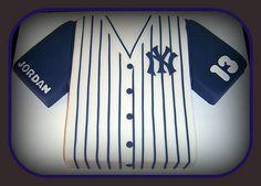 My son Jordans Birthday cake. for his birthday . done by Dawn. Baseball Cupcake Cakes, Baseball Birthday Cakes, Baseball Party, Birthday Themes For Boys, Boy Birthday, Birthday Ideas, Yankee Cake, Yankees Fan, Yankees Logo