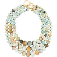 Kenneth Jay Lane Amazonite Triple Strand Necklace (335 CAD) ❤ liked on Polyvore featuring jewelry, necklaces, green, green jewelry, kenneth jay lane, kenneth jay lane necklace, bead strand necklace and imitation jewellery