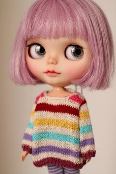 Doll hand-knitting rainbow sweater for Blythe Rainbow Sweater, Baby Fairy, Handmade Books, Handmade Notebook, Creepy Dolls, Cute Disney, Custom Dolls, Altered Books, Ball Jointed Dolls
