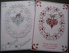 "Cards Made By Pam... Cheery Lynn ""Swedish Spring"" oval die Cheery Lynn "" Merry Christmas "" die Memory box ""Snowflake ornament"" die Martha Stewart branch punch holly corner punch ribbon/gems/stickles """