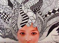 Self portrait with zentangle background. High School Art, Middle School Art, Magazine Collage, School Art Projects, Home Projects, High Art, Elements Of Art, Art Lesson Plans, Art Classroom