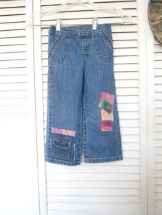 Hippie Patch Jeans Size 4T Girls Upcycled Patch by LandofBridget