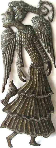 "Haitian Art - Angel with Bird Metal Wall Hanging - Decorative Wall Decor - 24"""