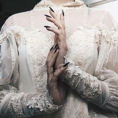 long black nails, pale skin, lace sheer shirt, Gothic, Victorian, vampire,