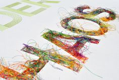 Peter Crawley's Stitch in Time Peter Crawley, Paper Art, Typography Letters, Graphic Design Typography, Hand Lettering, Hand Piercing, Textiles, Stitching On Paper, Hand Stitching