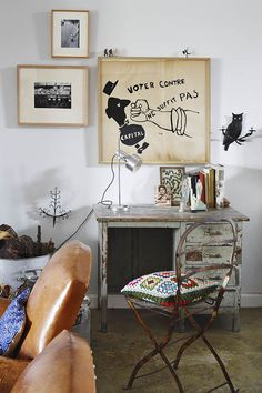 my scandinavian home: Eclectic vintage inspired home with fantastic art!