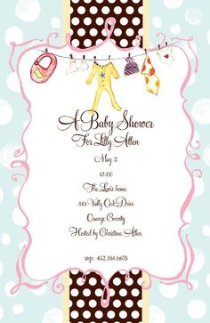 Baby Shower Invitation Cards, Clothes Line, Paper, Bella, 3, Baby Shower Invitation Wording