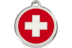 Swiss Cross Switzerland Pride Design Pet ID Dog Cat Charm Identification Pendant Dog Cat Size Small Free Custom Engraving