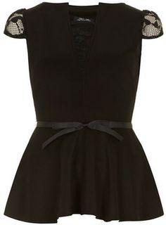 Black peplum top on shopstyle.com