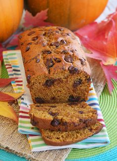 Chocolate Chunk Pumpkin Bread. Made this several times this autumn, it's delicious!