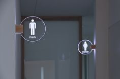 illuminated toilet sign - Another! Directional Signage, Wayfinding Signs, Environmental Graphic Design, Environmental Graphics, Toilet Signage, Toilet Logo, Bathroom Signage, Wc Sign, Wc Decoration