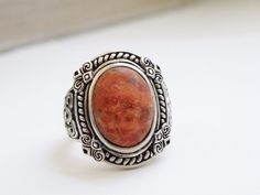 New W Tags Etruscan Sterling Silver 925 Red Orange Coral Designer NK Ring Size 7 #DesignerNK #Solitaire
