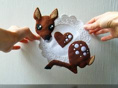 UpCycled Doily - Hugging Fawn  by CandyBandits $32.90