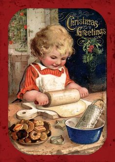 *CHRISTMAS PAST ~ Victorian Christmas Cookies.This reminds me of myself.We were 5 children, I being the eldest. I love baking for my bothers and sisters. Christmas Scenes, Christmas Past, Christmas Greetings, All Things Christmas, Holiday Cards, Christmas Baking, Country Christmas, Holiday Baking, Christmas Canvas