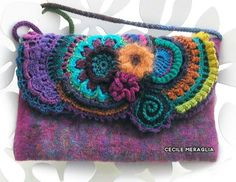 Felted purse with freeform crochet
