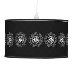 White flowers on black, customisable lamp