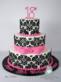 Edible Cake Decorations For 18th Birthday : Ribbon 18th birthday cake with fountain candle and edible ...