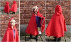 Roodkapjes/ Little Red Riding Hood by Justina Maria Louisa - ideaal voor Sterre! Little Red Riding, Red Riding Hood, Diy Dress, Fancy Dress, Fleece Crafts, Cape Pattern, Diy Gifts For Kids, Diy Costumes, Sewing Patterns Free