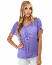 'Lyss Loo' Plus-Size Chiffon Button-down blouse with slit open back
