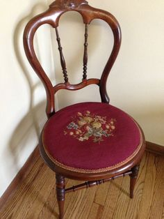 Antique Needlepoint Chair by JamieElaine on Etsy, $125.00