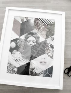 DIY idea for a magazine art collage inspired by geometric quilt blocking
