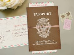 Vintage Passport Boarding Pass Destination Wedding Invitation - Megan Elizabeth - Printed or Printable