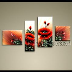 Primitive Contemporary Wall Art High Quality Oil Painting For Bed Room Poppy…