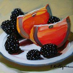 """Grapefruit  and  Blackberries"" - Original Fine Art for Sale - © Elena Katsyura"