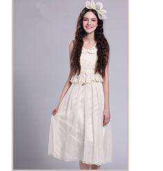 Lace garniert Ärmellos langes Kleid Apricot-US$ 12.16 (€ 9,24)-Großhandelspreisen bei Rock-kleidung.com