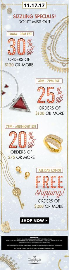 Sizzling Specials All Day Long Ladies, Don't Miss Out.. Allow Me to Assist with Your Holiday List .. Contact Me or Visit My Site .. TracILynnJewelry.com/CristinaRodriguezBaez #BeYourOwnBoss #GiftsUnder25 #GiftsUnder50 #preblackfriday  #RockingtheBrand #glam  #Jewelry #jewelryaddict  #prendasTraciLynn #joyastracilynn #joyas #dazzle #Style #styleinspo #modalatina #accessories  #fashionista #trendy #trendsetter #beauty #fashionaddict #RockingTraciLynn #moda #Latina #statementjewelry