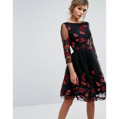 Chi Chi London Long Sleeve Prom Dress With Floral Embroidery (€100) ❤ liked on Polyvore featuring dresses, gowns, black, long sleeve midi dress, floral embroidered gown, bridesmaid gown, long-sleeve midi dresses and long sleeve bridesmaid dresses