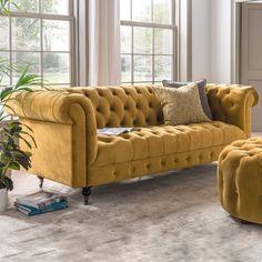 Living Furniture, Sofa Furniture, Living Room Sofa, Sofa Set Designs, Sofa Design, Mustard Sofa, Mustard Yellow, Velvet Chesterfield Sofa, Yellow Sofa