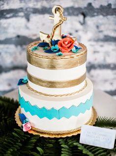 A modern nautical affair #wedding cake ~ Whipped Bakeshop // Photographer: George Weiss   bellethemagazine.com