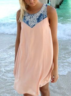 Pink Round Neck Sleeveless Bead Loose Dress