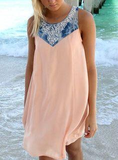 Pink Round Neck Sleeveless Bead Loose Dress