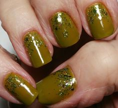 Mani Monday: Garden Green Reverse Glitter French Manicure   www.blbride.com beauty and lifestyle bride magazine